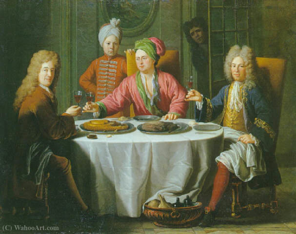Gentlemen meeting around a table in an interior by Jacques Van Schuppen (1670-1751, France) | Oil Painting | ArtsDot.com