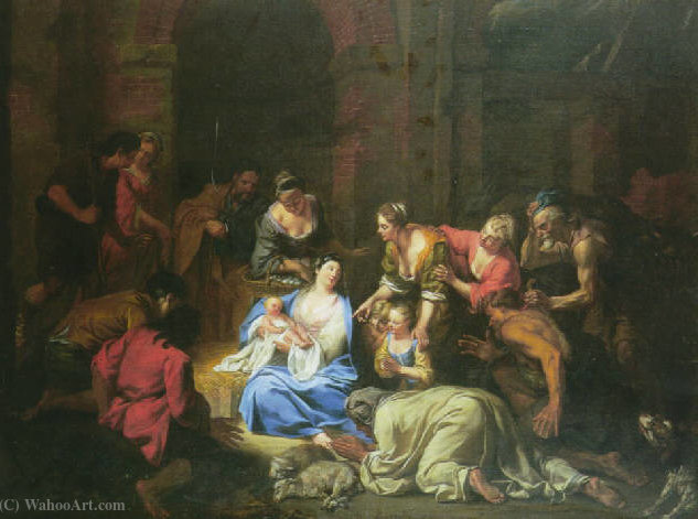 The Adoration of the Shepherds by Jacques Van Schuppen (1670-1751, France) | Painting Copy | ArtsDot.com
