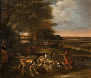 Jan Baptist Weenix - Landscape with Peasants a..
