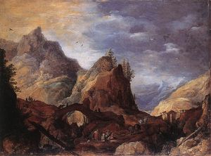 Joos De Momper The Younger - Mountain Scene with Bridges