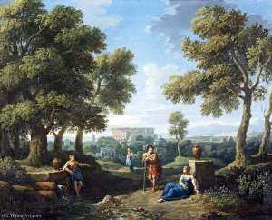 Jan Frans Van Bloemen - A Classical Landscape, with Figures Conversing by a Fountain