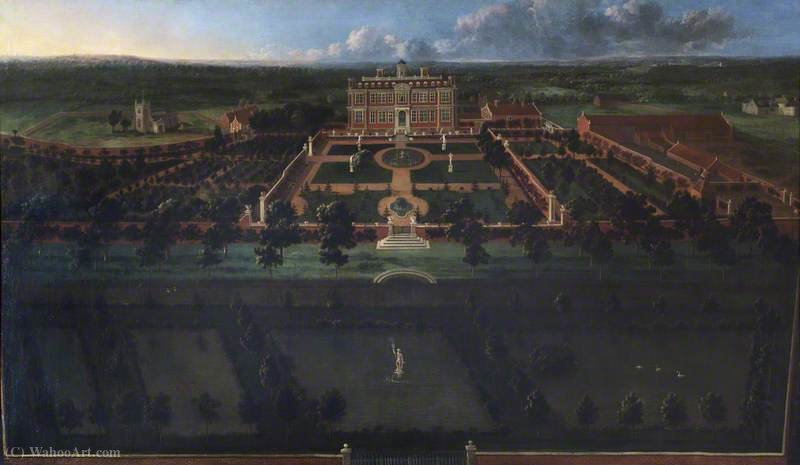Bird`s Eye View of Sudbury Hall South Front and Its Formal Gardens by Jan Griffier (1652-1718, Netherlands) | Art Reproduction | ArtsDot.com