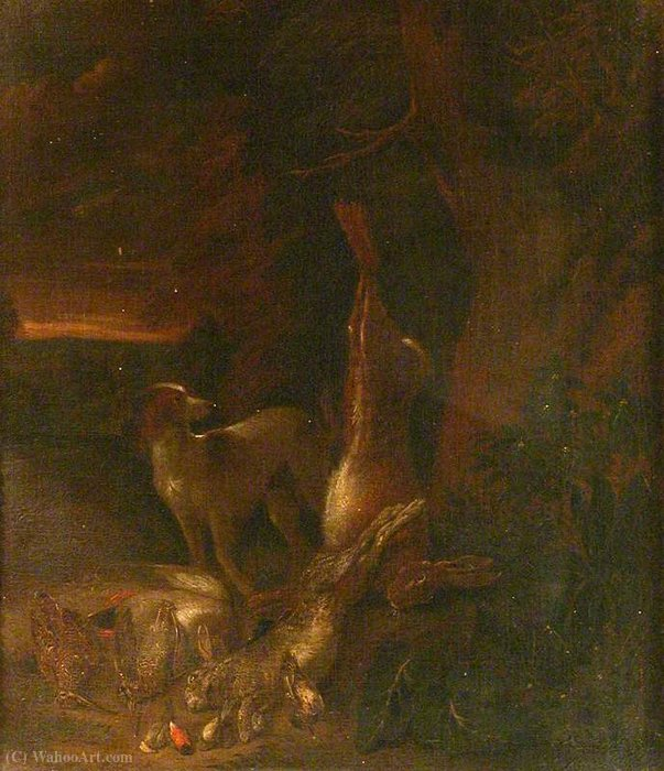 Dog, Hare and Dead Game by Jan Griffier (1652-1718, Netherlands) | Museum Art Reproductions | ArtsDot.com