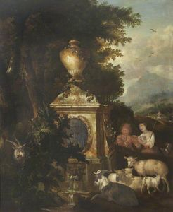 Jan Griffier - Shepherd and Shepherdess by a Fountain