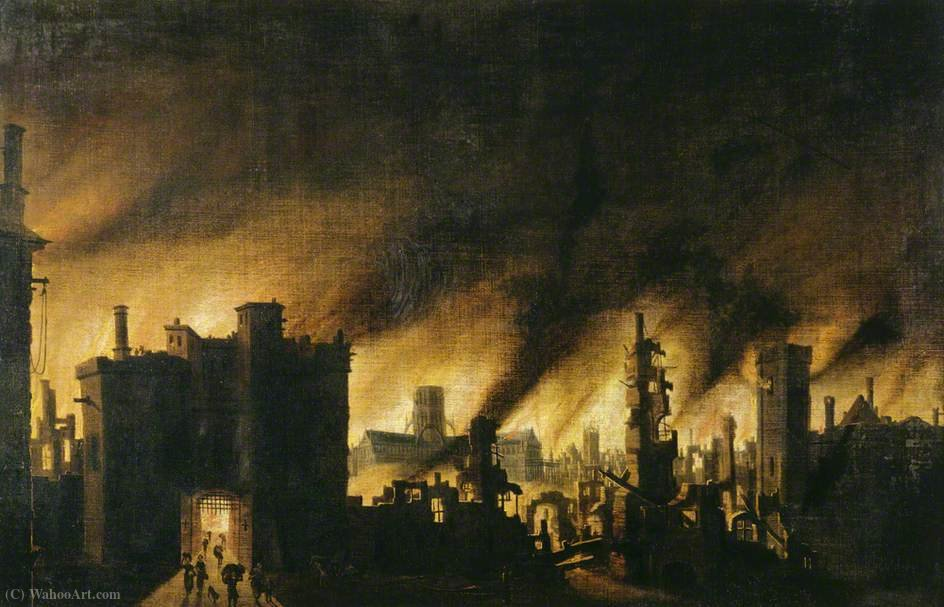 The Great Fire of London by Jan Griffier (1652-1718, Netherlands) | Art Reproduction | ArtsDot.com