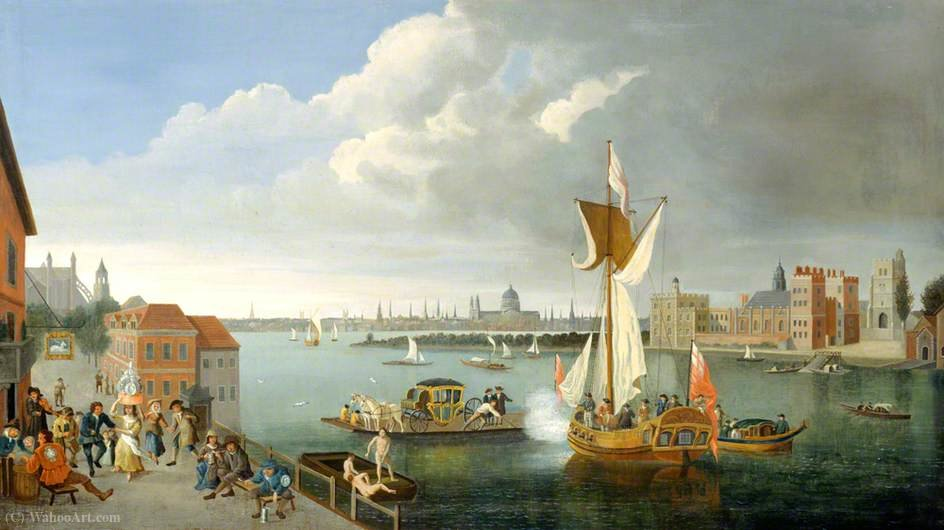 The Thames at Horseferry, with Lambeth Palace and a Distant View of the City, London by Jan Griffier (1652-1718, Netherlands) | Museum Quality Reproductions | ArtsDot.com