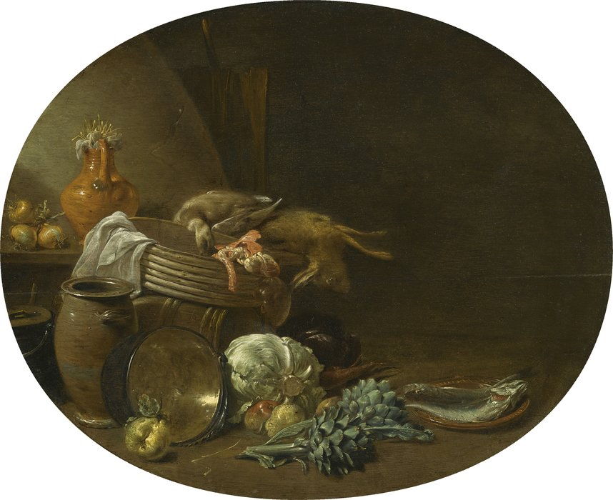 A kitchen still life of a hare by Jan Olis (1610-1676, Netherlands)