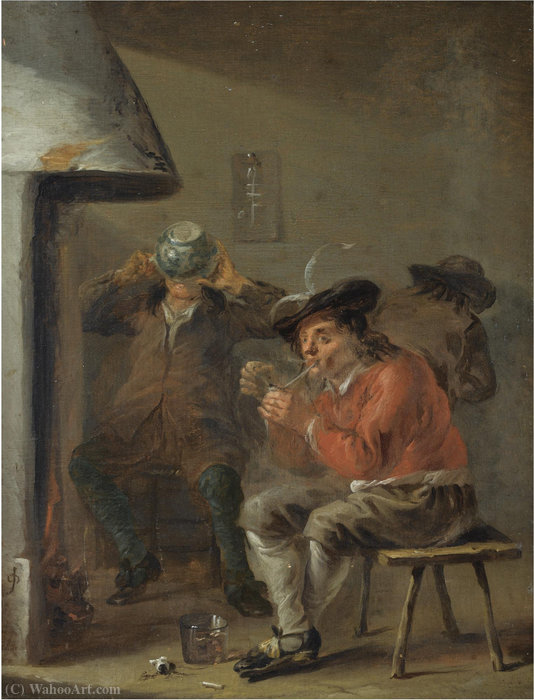 An interior with peasants smoking and drinking beside a fireplace by Jan Olis (1610-1676, Netherlands)