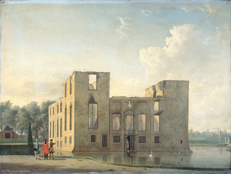 Berckenrode Castle in Heemstede after the fire of 4-5 May (1747) by Jan Ten Compe (1713-1761, Netherlands)