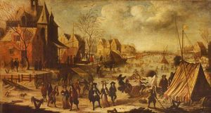 Jan Wyck - An Imaginary Winter Scene with People Amusing Themselves upon a Frozen River with Tents and a Sleigh