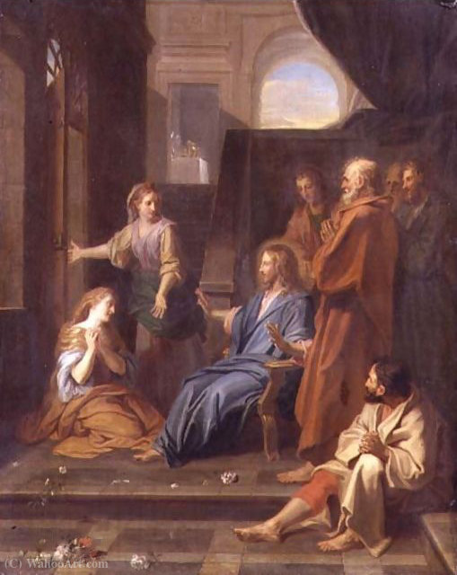 Christ in the House of Martha and Mary by Jean Baptiste Jouvenet (1644-1717, France) | Museum Quality Reproductions | ArtsDot.com