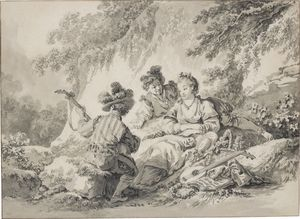 Jean Baptiste Le Prince - Two men and a lady making..