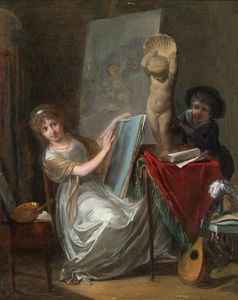 Jean Baptiste Mallet - A Studio Interior with a Young Woman Painting by Jean-Baptiste Mallet