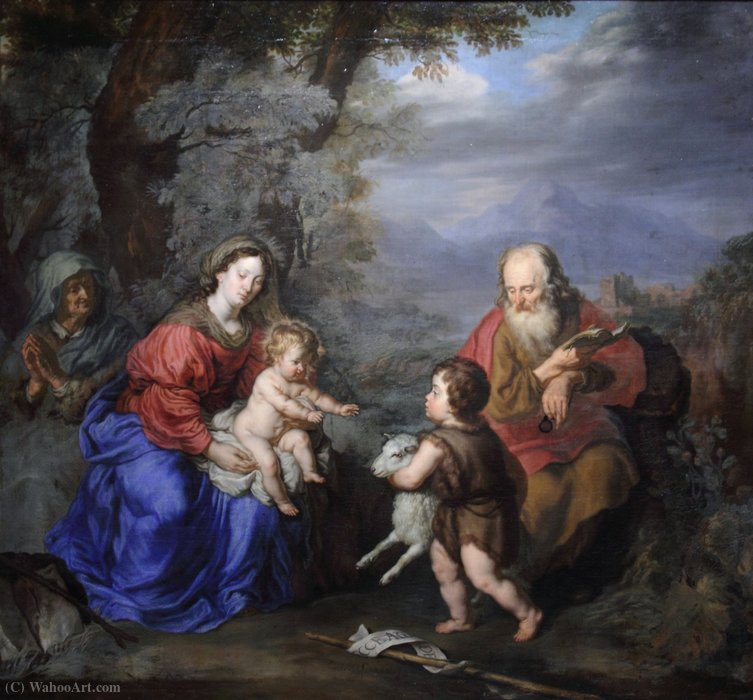 Holy Family in a Landscape by Joachim Von Sandrart (1606-1688, Germany)