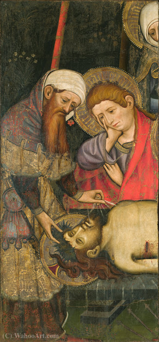 Mourning over the Dead Body of Christ by Joan Mates (1370-1431, Spain)