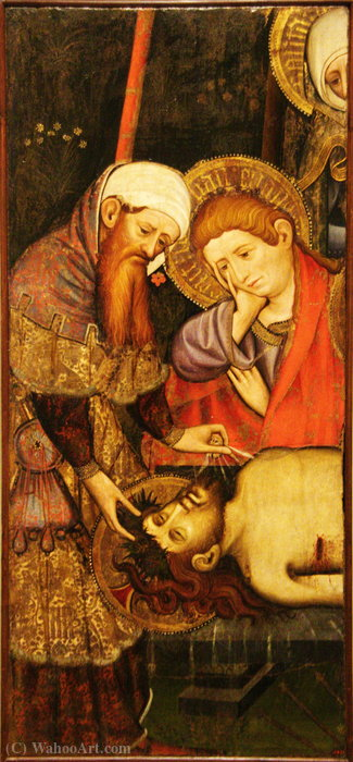 Plany on Crist cos mort. by Joan Mates (1370-1431, Spain)
