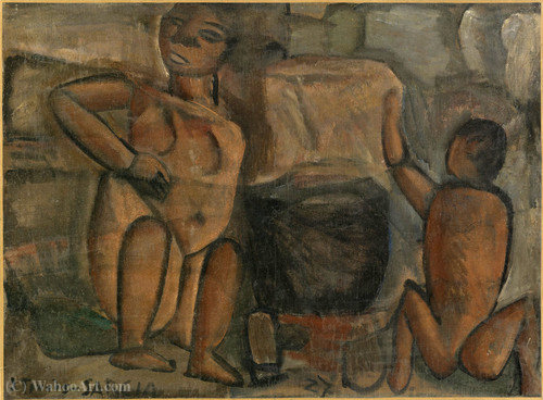 Untitled, figures - (1927) by Joaquín Torres García (1874-1949, Uruguay) | Museum Art Reproductions | ArtsDot.com
