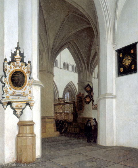 The Interior of St. Bavokerk, Haarlem, looking north-east toward the choir screen. by Job Adriaensz Berckheyde (1630-1698, Netherlands)