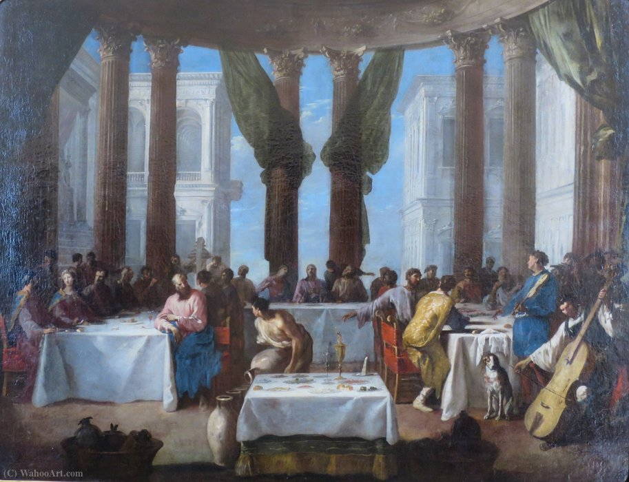 The Marriage in Cana by Johann Heinrich Schönfeld, Hermitage by Johann Heinrich Schönfeld (1609-1684, Germany)