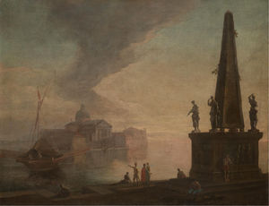 Johann Richter - A capriccio view of the venetian lagoon