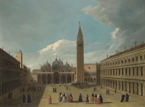 Johann Richter - Venice, a view of the piazza san marco, with figures gathered round an artist painting a portrait on a stage