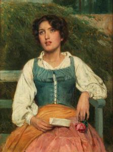 John Bagnold Burgess - Portrait of a Young Woman with a Love Letter