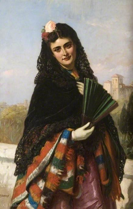 Spanish Lady with a Fan by John Bagnold Burgess (1829-1897, United Kingdom)
