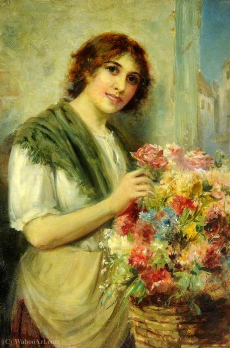 The flower girl by John Bagnold Burgess (1829-1897, United Kingdom)
