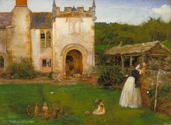The old bowling green by John William North (1842-1924, United Kingdom)