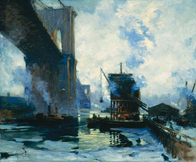 Morning on the river by Jonas Lie (1880-1940, Norway)