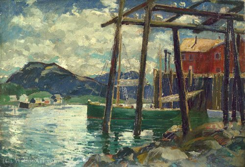 Old wharves by Jonas Lie (1880-1940, Norway)
