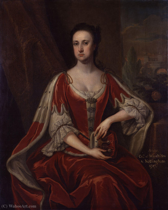 Portrait of Anne Hatton, Countess of Winchilsea by Jonathan Richardson (1667-1745, United Kingdom)