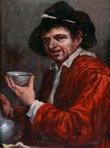 Joos Van Craesbeeck - Man Holding a Cup and a Wine Bottle