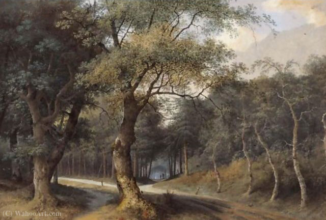 A path through a forest by Joseph Augustus Knip (1777-1847, Netherlands) | Painting Copy | ArtsDot.com