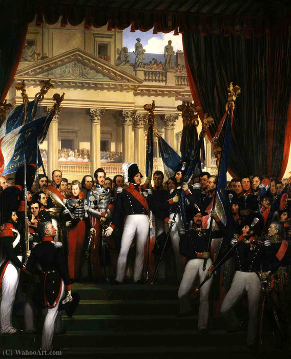 The king gave the flags to the National Guard of Paris and the suburbs by Joseph Désiré Court (1797-1865, France)