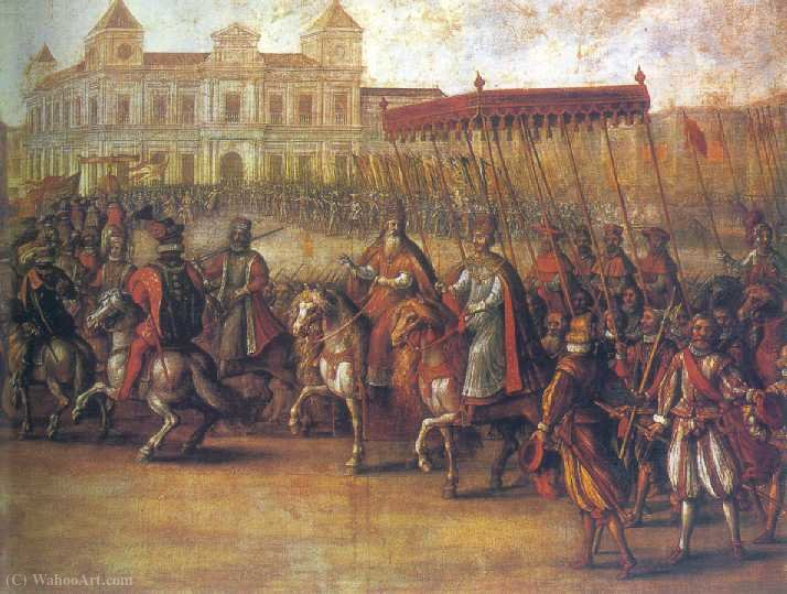 Carlos V input in Bologna by Juan De La Corte (1597-1660, Spain)