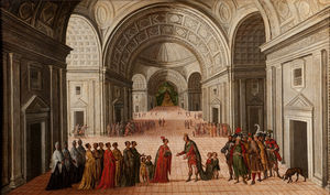Juan De La Corte - The Meeting of Solomon an..