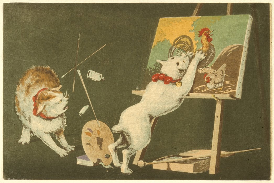 Canvas and Cats by Kobayashi Kiyochika (1847-1915, Japan)