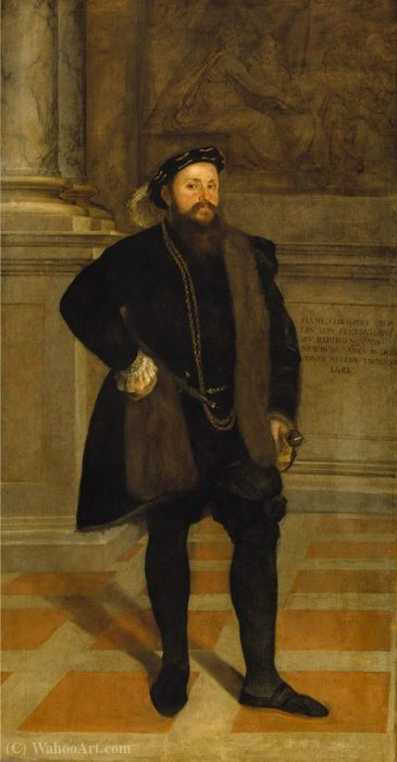 Hans Christoph Vöhlin of Frickenhausen, Freiherr zu Illertissen and Neuburg an der Kammel by Lambert Sustris (1520-1584, Netherlands) | Art Reproduction | ArtsDot.com