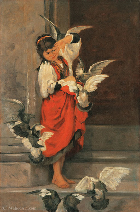 The girl with the Pigeons by Lembesis Polychronis (1848-1913, Greece) | ArtsDot.com