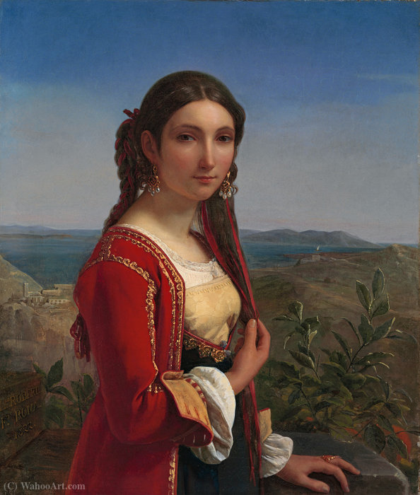 Portrait of a young woman of Retuna by Louis Léopold Robert (1794-1835, Switzerland)