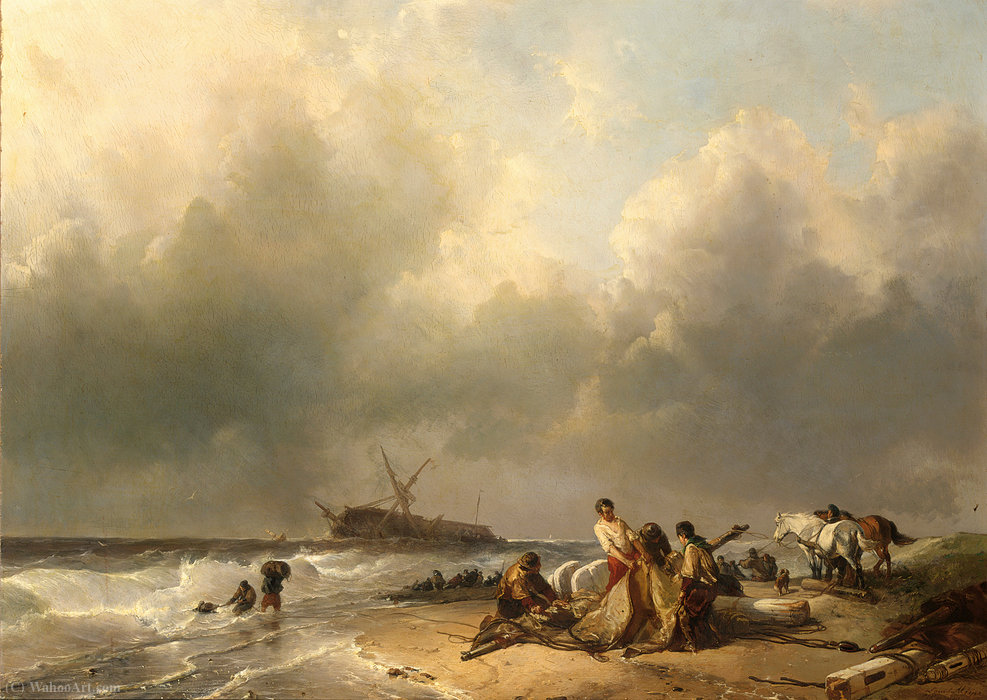 Figures on the beach, a schip wreck in the breakers by Louis Meijer (1809-1866, Netherlands)