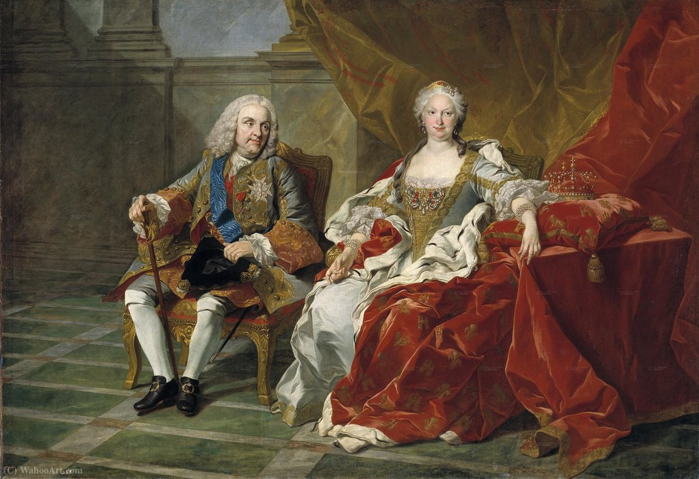 Portrait of Philip V of Spain and Elisabeth Farnese by Louis Michel Van Loo (1707-1771, France) | Painting Copy | ArtsDot.com