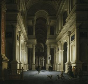 Ludolf Leendertsz De Jongh - Interior of a Church at Night