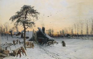 Ludwig Munthe - Winter landscape in the e..