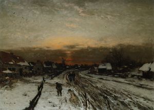 Ludwig Munthe - Winter landscape with sun..