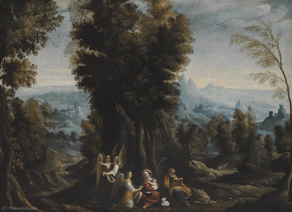 Landscape with the Rest on the Flight into Egypt by Mastelletta (1575-1655, Italy) | ArtsDot.com