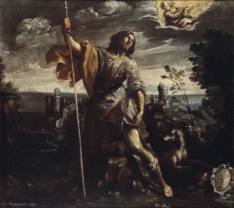 St.Roche in a landscape by Mastelletta (1575-1655, Italy)