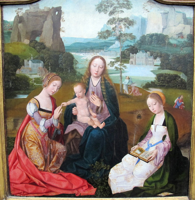 Madonna with the saints Caterina and barbara by Master Of The Holy Blood