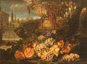 Michele Pace Del Campidoglio - Still Life of Fruit with an Urn in a Garden